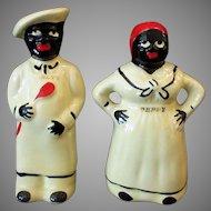 Vintage Pearl China Salty & Peppy Black Memorabilia Salt & Pepper Set