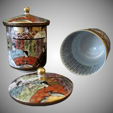 Vintage Japanese Kutani Wedding Set – Lidded Cups with Calligraphy Inside