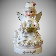 Vintage April Birthday Angel with Easter Theme – Colored Eggs & Bunny