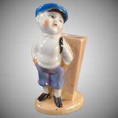 Vintage Toothbrush Holder - Little Boy in Cap and Knickers - Lusterware