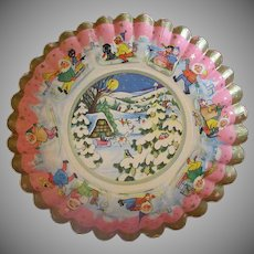Vintage Fluted Paper Christmas Bowl – 1930's German - Very Cute Graphics