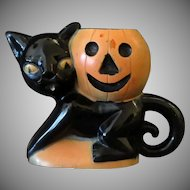 Vintage Rosbro Plastic Halloween Novelty - Black Cat & Pumpkin