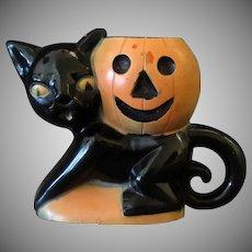 Vintage Rosbro Plastic Halloween Novelty - Black Cat & Pumpkin