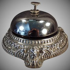 Vintage Counter Top Nickel Plated Bell with Ornate Angel Cherub Design