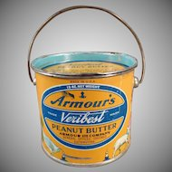 Vintage Armour's Veribest Peanut Butter Tin - 12oz. Pail - Mother Goose Nursery Rhyme