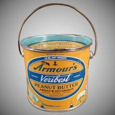 Vintage Armour's Veribest Peanut Butter Tin - 12oz. Pail - Mother Goose Nursery Rhyme