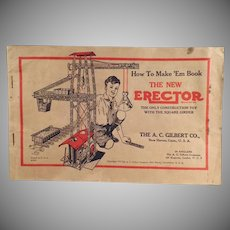 Vintage 1934  A.C. Gilbert Erector Set Manual - How to Make 'Em with Diagrams