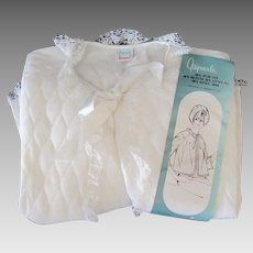Vintage 1960's Pennys Gaymode White Quilted Bed Jacket with Lace Trim - Large