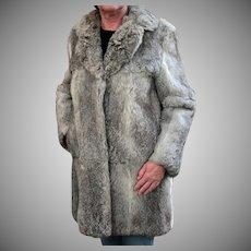 Ladies Vintage Rabbit Fur Coat Jacket - Pretty Silver Colored