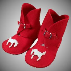 Vintage Baby Red Felt Boot Booties - Slipper Shoes with Applied Horses