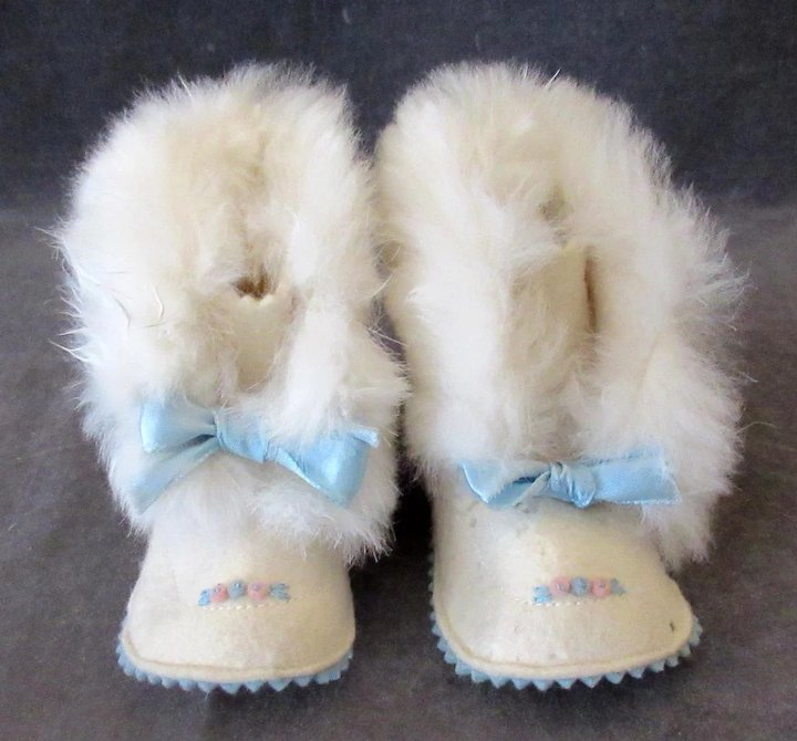 791cecdbbe39f Vintage Baby Booties - Old Blue Felt Shoes with Rabbit Fur Trim