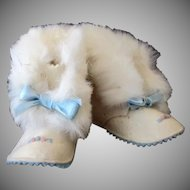 Vintage Baby Booties - Old Blue Felt Shoes with Rabbit Fur Trim