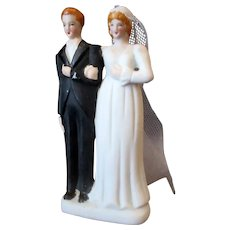 Vintage Veiled Bride & Groom – Small Wedding Cake Topper  - Occupied Japan