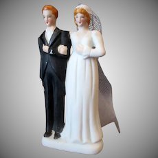 Vintage Bride with Veil & Groom – Small Wedding Cake Topper  - Occupied Japan