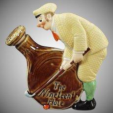 Vintage Schafer and Vater 19th Hole Flask with Dapper Golfer - Old Porcelain Nip