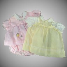 Two Vintage Outfits for Baby Doll - One Pink and One Yellow