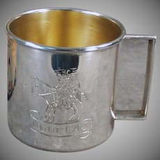 "Vintage Child's Cup Engraved ""Douglas"" with Original Gift Box - Silver Plate Cup"