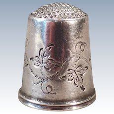 Vintage 1896 Swedish Silver Sewing Thimble – Antique Steel Capped Thimble