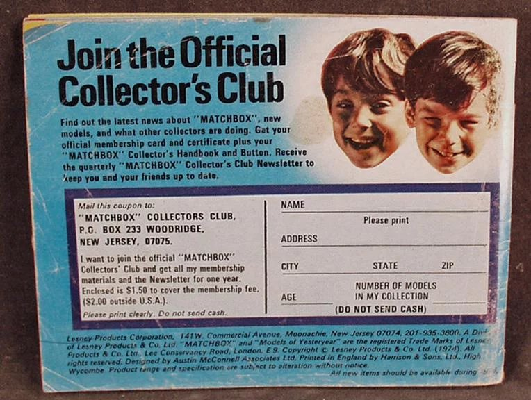 Vintage Matchbox Collectors 1974 Catalogue Identification List - Great  Reference