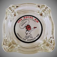 Vintage Royal Restaurant Advertising Glass Ashtray - The Royal of Garden City, Idaho