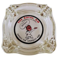 Vintage Royal Restaurant Advertising Glass Ashtray - The Royal of Garden City, Idaho