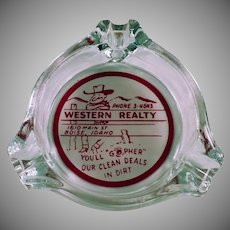 Vintage Glass Advertising Ashtray - Western Realty from Boise, Idaho