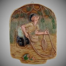 Vintage Chalk Wall Hanging with Humourous Fly-Fishing Fisherman