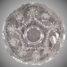 "Vintage 14"" Heisey Party Platter – Orchid Etch on Waverly Pattern"