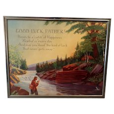 """Vintage Motto Print for Dad with Fishing Theme – """"Good Luck Father"""""""