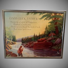 "Vintage Motto Print for Dad with Fishing Theme – ""Good Luck Father"""