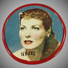 Vintage Celluloid Pocket Mirror with Movie Star Maureen O'Hara