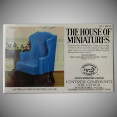 Vintage Craftmark House of Miniatures Doll Furniture – Chippendale Wing Chair #40016 Unassembled Kit