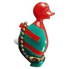 Vintage Dexterity Puzzle Key Chain - Colorful Duck