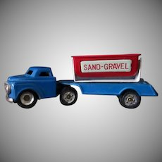 Vintage Sand & Gravel Side Dump Truck - Small Scale Japanese Tin Toy