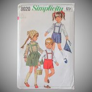 Old Simplicity #8020 Child Size 4 Pattern – Darling Tyrolean Outfits