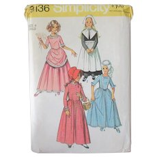 Old Simplicity #9136 Girl's Size 4 Pattern - Puritan, Centennial and Other Costume Dresses