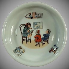 Vintage Baby Plate Feeding Dish - Teacher and Children Geography Lesson - Germany