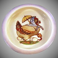 Vintage Baby's Plate Feeding Dish - Lusterware Bowl with Dressed Mother Hen