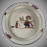 Vintage Baby's Feeding Dish Plate - Wellsville - Mother Goose Nursery Rhyme