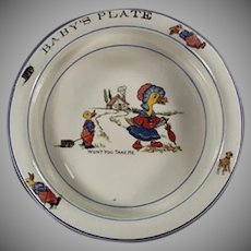 Vintage Baby's Feeding Dish Plate - Wellsville - Mother Goose Nursery Rhyme