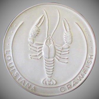 Vintage Frankoma Pottery Trivet - Louisiana Crawfish in White Sand Glaze