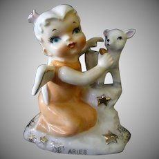 Vintage Aries Birthday Porcelain Figurine – Angel with Baby Goat