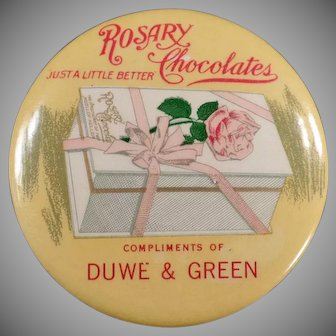 Vintage Celluloid Advertising Pocket Mirror - Rosary Chocolate Candies