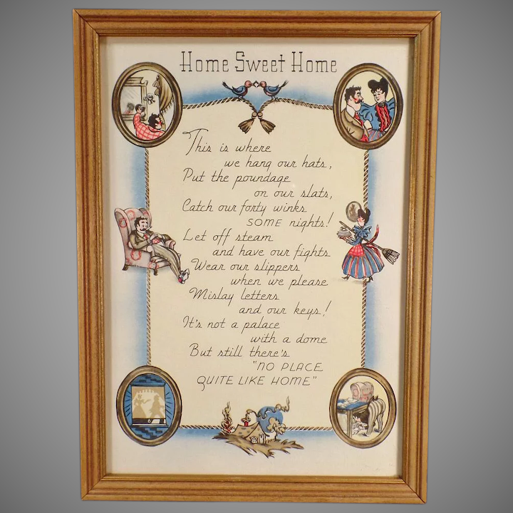 3809f339d0d Vintage Motto Print - Home Sweet Home - Cute Graphics and Poem, : Ogee's  Antiques | Ruby Lane