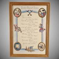 Vintage Motto Print - Home Sweet Home - Cute Graphics and Poem, Original Frame