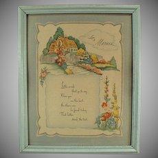 Framed Vintage Motto Print for Mom - Love to Mother Poem