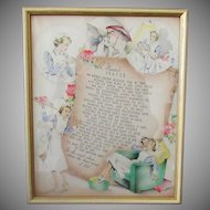 Vintage Buzza Motto Print – A Nurse's Prayer- 1941