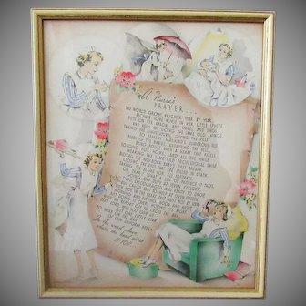 Vintage Buzza Motto Print – A Nurse's Prayer- 1941