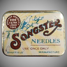 Vintage Songster Phonograph Needle Tin - Songster with Nice Graphics