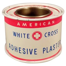 Vintage White Cross Adhesive Plaster Medical Advertising Tin